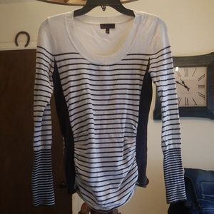 Takeout brand gray and white striped sweater